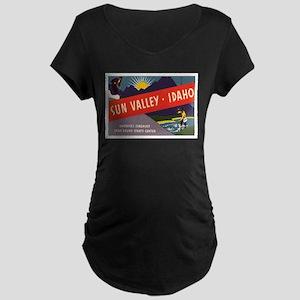 Sun Valley Idaho Maternity Dark T-Shirt