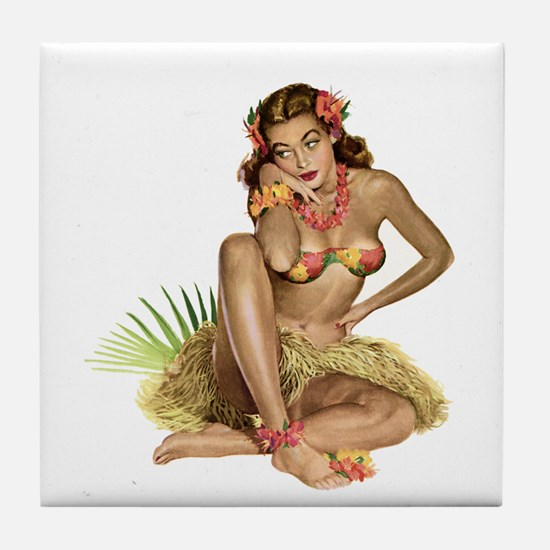 Tropical Girl Tile Coaster