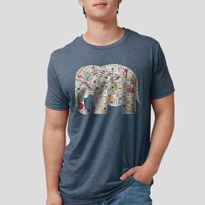 Floral Elephant Silhouette Mens Tri-blend T-Shirt