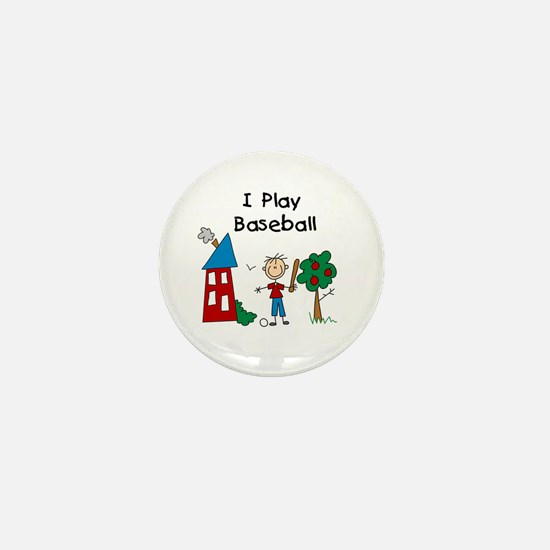 I Play Baseball Mini Button