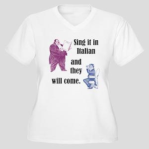 Sing Italian Women's Plus Size V-Neck T-Shirt