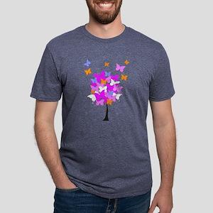 Pink Butterfly Tree Mens Tri-blend T-Shirt