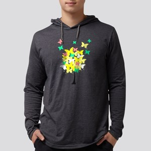 Yellow Butterfly Tree Mens Hooded Shirt