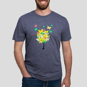 Yellow Butterfly Tree Mens Tri-blend T-Shirt