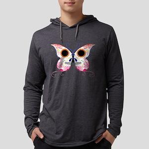 Sugar Skull Multi Color Butterfly Mens Hooded Shir