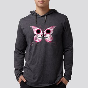 Sugar Skull Pink Butterfly Mens Hooded Shirt