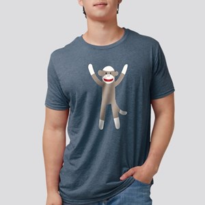 Excited Sock Monkey Mens Tri-blend T-Shirt