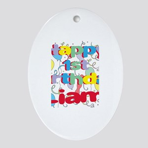 Liam's 1st Birthday Oval Ornament