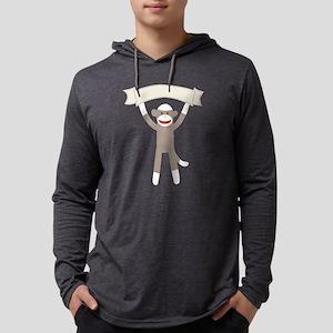 Sock Monkey Banner Mens Hooded Shirt
