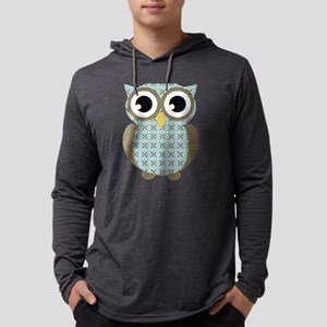Blue Mod Print Owl Mens Hooded Shirt