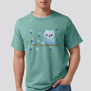 Blue Striped Winter Snow Owl Mens Comfort Colors®