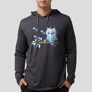 Blue Striped Winter Snow Owl Mens Hooded Shirt