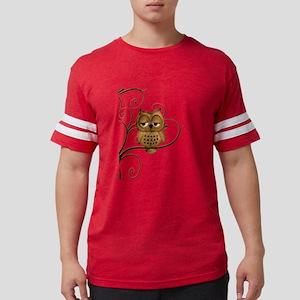 Brown Swirly Tree Owl Mens Football Shirt