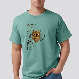 Brown Swirly Tree Owl Mens Comfort Colors® Shirt