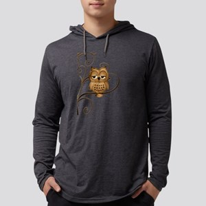 Brown Swirly Tree Owl Mens Hooded Shirt
