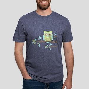 Bright Eyes Owl in Tree Mens Tri-blend T-Shirt