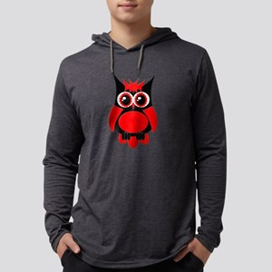Red Punk Owl Mens Hooded Shirt