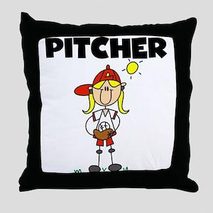 Girl Baseball Pitcher Throw Pillow