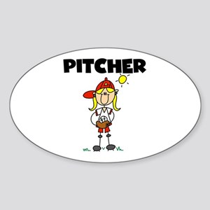 Girl Baseball Pitcher Oval Sticker