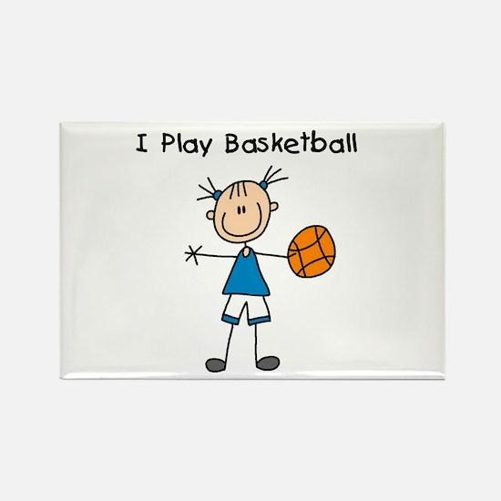 Girl I Play Basketball Rectangle Magnet