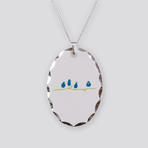 BLUEBIRDS ON A TWIG Necklace Oval Charm