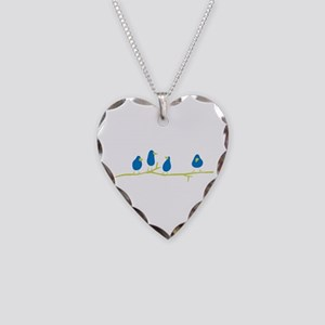 BLUEBIRDS ON A TWIG Necklace Heart Charm