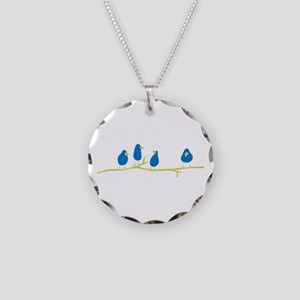 BLUEBIRDS ON A TWIG Necklace Circle Charm