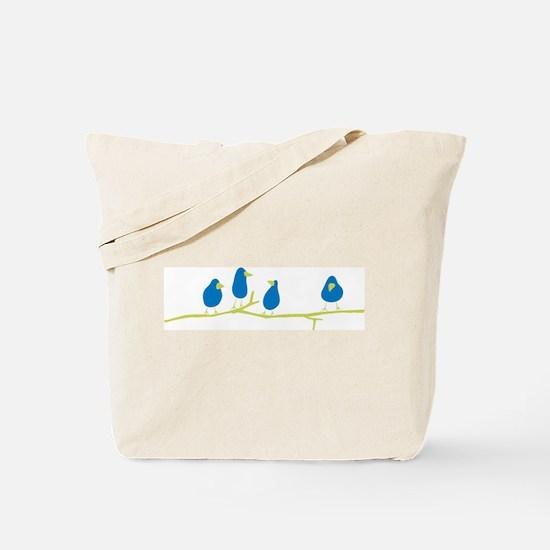 BLUEBIRDS ON A TWIG Tote Bag