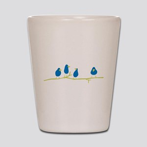 BLUEBIRDS ON A TWIG Shot Glass