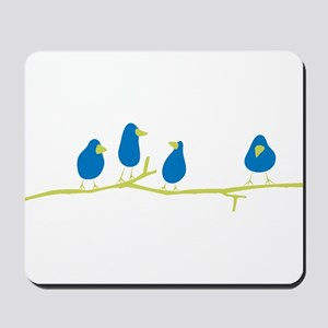 BLUEBIRDS ON A TWIG Mousepad