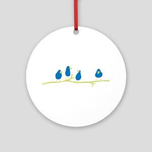 BLUEBIRDS ON A TWIG Round Ornament