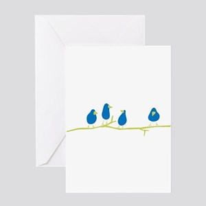 BLUEBIRDS ON A TWIG Greeting Cards