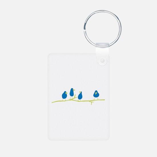 BLUEBIRDS ON A TWIG Keychains