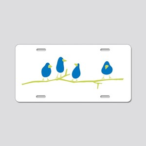 BLUEBIRDS ON A TWIG Aluminum License Plate