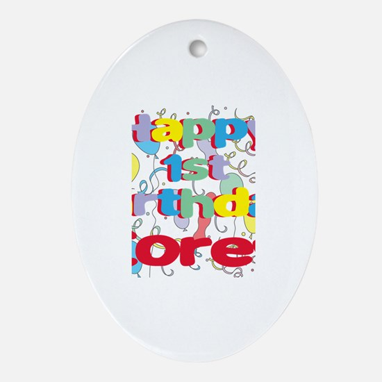 Corey's 1st Birthday Oval Ornament
