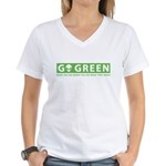 Go Green Alien Women's V-Neck T-Shirt