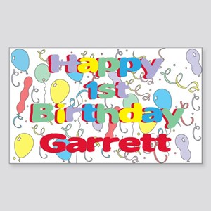 Garrett's 1st Birthday Rectangle Sticker