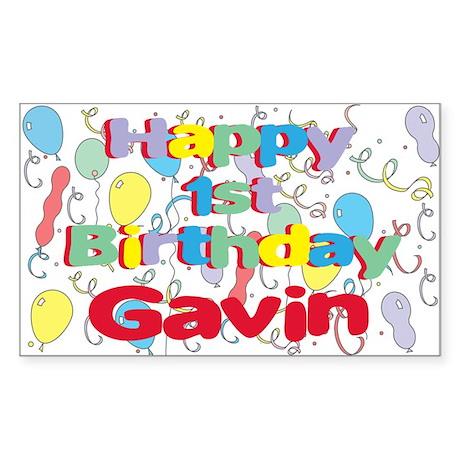 Gavin's 1st Birthday Rectangle Sticker