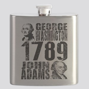 George Washington John Adams 1789 President Flask
