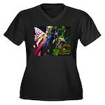 Three Dryads Women's Plus Size V-Neck Dark T-Shirt