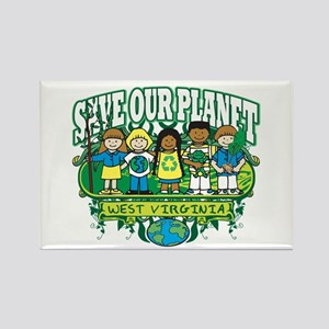 Earth Kids West Virginia Rectangle Magnet