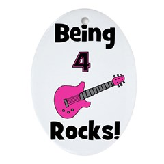 Being 4 Rocks! pink Oval Ornament