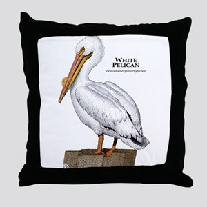 White Pelican Throw Pillow
