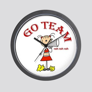 Go Team Cheerleading Wall Clock