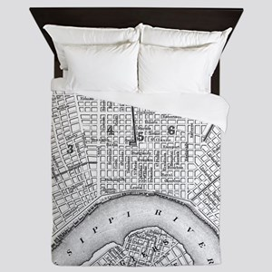 Vintage Map of New Orleans (1880) BW Queen Duvet