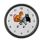 Fish Bowl Kitty Large Wall Clock