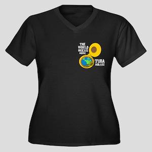 Tuba Solos Women's Plus Size V-Neck Dark T-Shirt