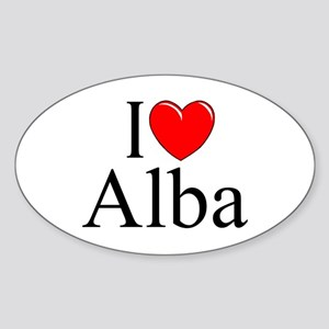 """I Love (Heart) Alba"" Oval Sticker"
