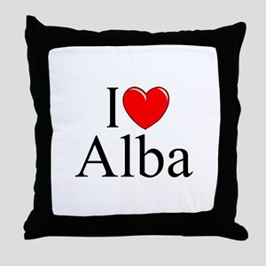 """I Love (Heart) Alba"" Throw Pillow"