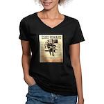 Clyde Barrow Women's V-Neck Dark T-Shirt